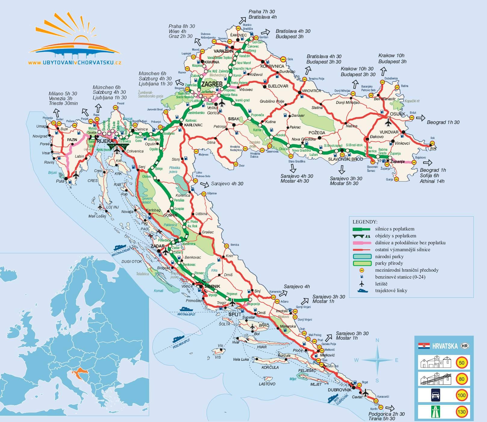 Mapa Chorvatska Ubytovani Dovolena Mapy Chorvatska